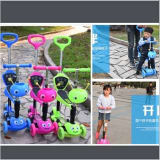 Toddler Children Kids Scooter, Stroller, Push Car, Walker, Kick Scooter (5-in-1 Export Quality, PU Light-up Wheels, Anti-Slip standing board) - In Stock !!!