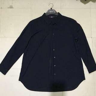 Uniqlo navy blue chiffon long sleeve