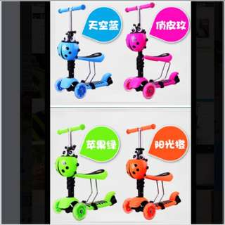 Toddler Children Kids Scooter, Kick Scooter, Push Car, Walker (3-in-1 Export Quality, PU Light-up Wheels, Anti-Slip standing board) - In Stock !!!
