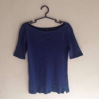 Uniqlo Ribbed Boat Neck Half Sleeved Top