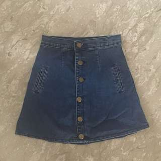 Dark Blue Denim Button Down Skirt