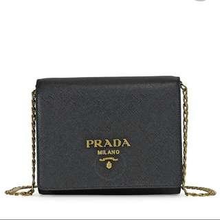 PRADA-Lux Saffiano Leather Shoulder Bag - Black