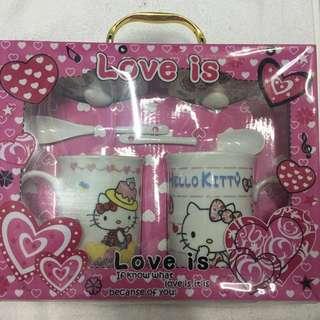 Glass Hello Kitty Set / Gelas corak Hello Kitty Set