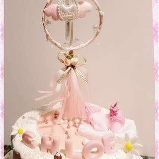 BB女 滿月蛋糕 發光Baby光環