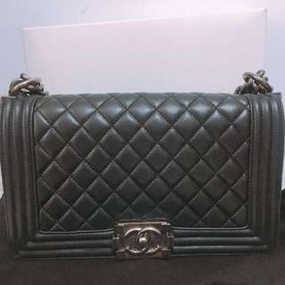 Chanel boy 25 Lamb skin 黑色銀扣