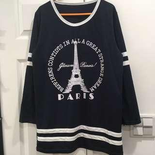 🚚 轉賣)全新深藍色巴黎鐵塔長袖上衣