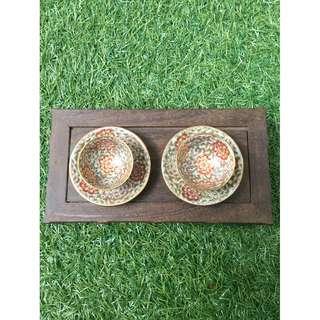 Vintage Japanese tea bowl set
