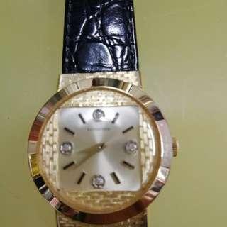 浪琴14K4石手動上鍊手錶