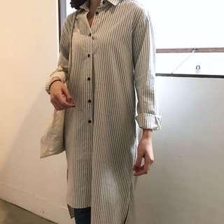 🚚 (現貨)韓國連線🇰🇷 設計款不對稱挺料條紋長襯衫