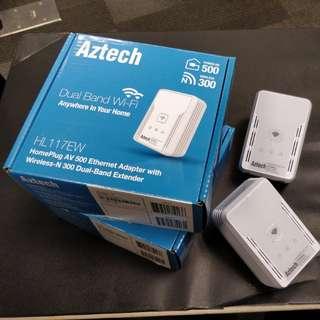 Aztech HL117EW Homeplug (AV500 Ethernet Adapter with Wireless-N 300 Dual-band extender)