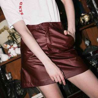 Red Leather Skirt (Faux)