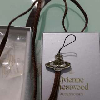 全新真品 Vivienne westwood 真皮長電話繩,掛袋飾物
