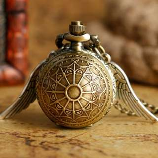 Fashion Golden Snitch Pocket Watch Stainless Steel with Necklace Chain Quartz