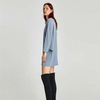 WST 20022 Blue Open Slit Sleeve Dress