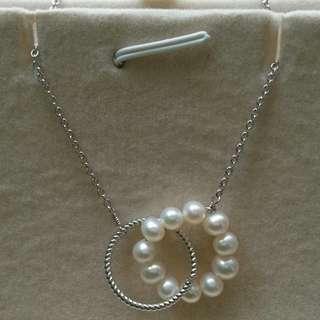 純銀鍍18k金珍珠頸鍊