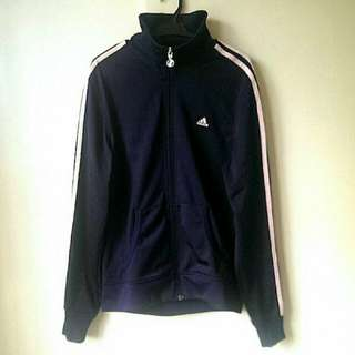 Adidas Track Jacket (Navy Blue with Baby Pink Stripes)