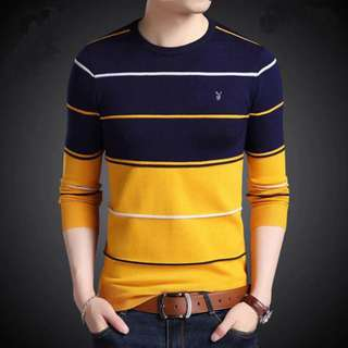 Knitted Stripes Long Sleeves Shirt