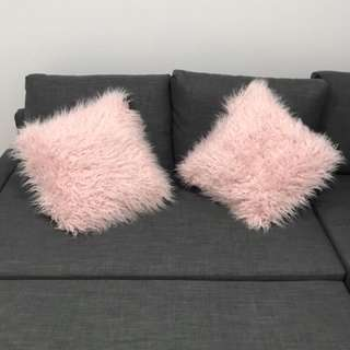 BRAND NEW Pink Faux Fur Couch Cusions