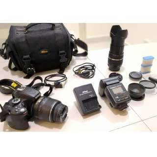 Nikon D5100 full complete sets with 2 lens.