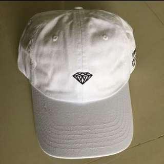 Diamond supply white baseball strapback dad cap