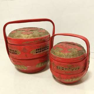 Oriental Lunch Box antique style look twin set