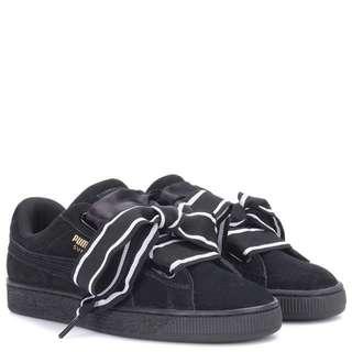 99% New 近乎全新 PUMA Suede Heart Satin 黑白蝴蝶結 另配全黑鞋帶一對