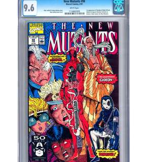 CGC 9.6 New Mutants 98 Deadpool First Appearance white pages comic