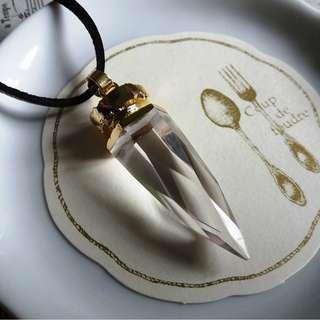 ✨尼泊爾製手工打磨子彈形天然白水晶镀金吊墜連皮繩✨ = 現貨已售,歡迎預訂 =
