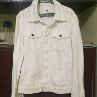 H&M white denim jacket