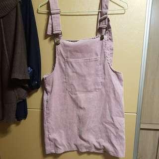 🚚 粉色絨布吊帶裙