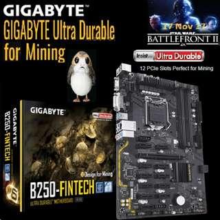 Gigabyte B250 Fintech 12GPU Mining Motherboard. ( Ex-Stock on 22 Feb 2018 )