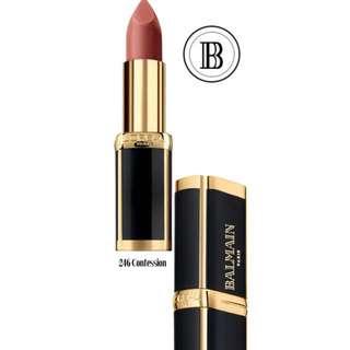 Loreal x Balmain lipstick in 246 Confession
