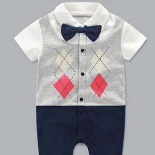 *Ready Stock* Cotton Lattice Gentleman Jumpsuit / Romper for Baby
