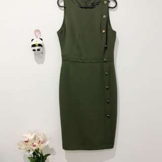 Forever New Olive Green Midi Dress Size AU10
