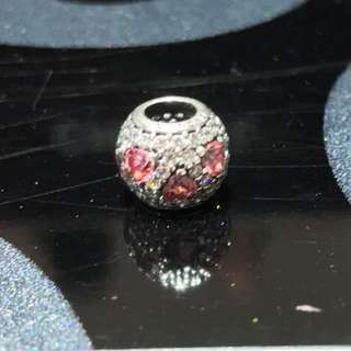 Pandora Charm - Pink Hearts in full crystals