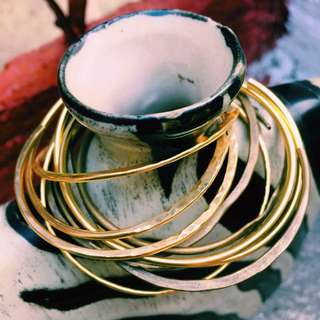 Textured Simple Thin Brass Bangles in Gold and Vintage