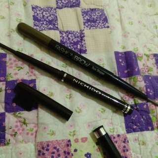 Maybelline Fashionbrow Duo in Natural Brown and Nichido Eye pencil in Dark Brown