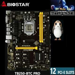 Biostar TB250-BTC Pro For Mining 12 GPU.