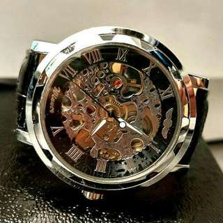全自動銀鋼機械陀飛輪真皮手錶 Automatic Silver steel Mechanical Tourbillon Genuine Leather Watch 情人節禮物 Valentine's Day Gift