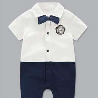 *Ready Stock* Cotton White Gentleman Jumpsuit / Romper for Baby
