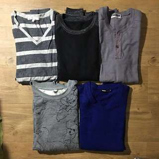 Assorted mens longsleeves and pullovers Size small