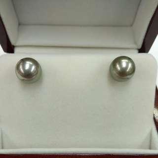 18K 白金大溪地海水珍珠耳環