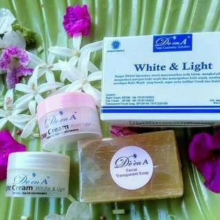 Paket perawatan wajah herbal halal de en a white n light