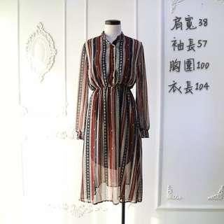 復古直條紋收腰洋裝