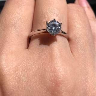S925 純銀戒指 一卡仿鑽戒指 蘇聯石 超閃