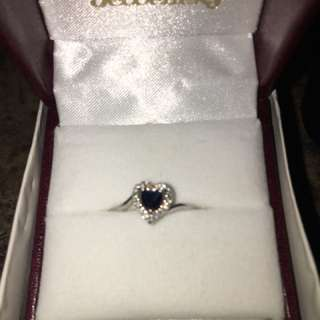10k white gold diamonds & blue sapphire