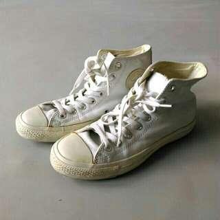 Converse | 正版 全白 皮革 高筒帆布鞋 白鞋