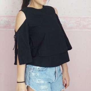 Black tied sleeves top