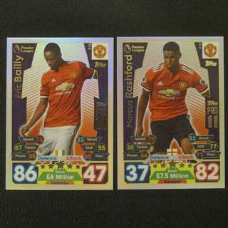 最新 17/18 Match Attax PRO11 - Eric BAILLY / Marcus RASHFORD #Manchester United 曼聯