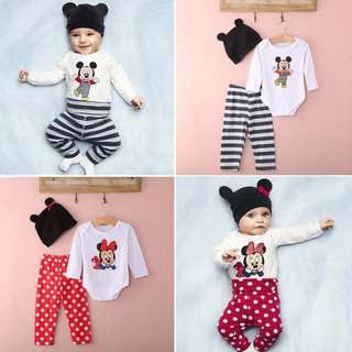3pcs Outfits Set Micky Mouse Minnie Hat Romper/Bodysuit